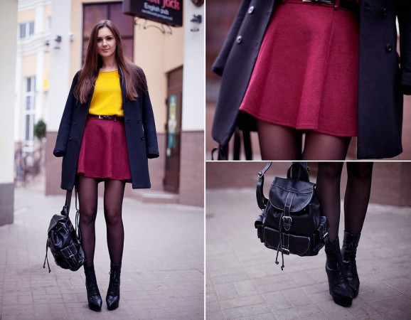 Пальто с юбкой по колено